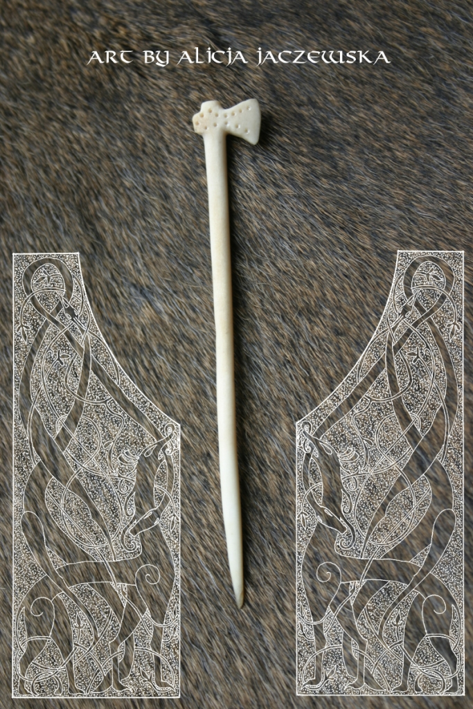 viking deer antler bone cloak pin danish axe hedeby haithabu 3